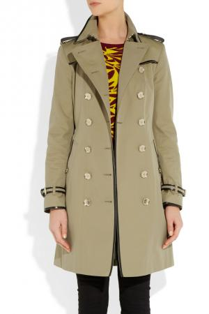 Burberry London Leather trimmed gabardine trench coat 1